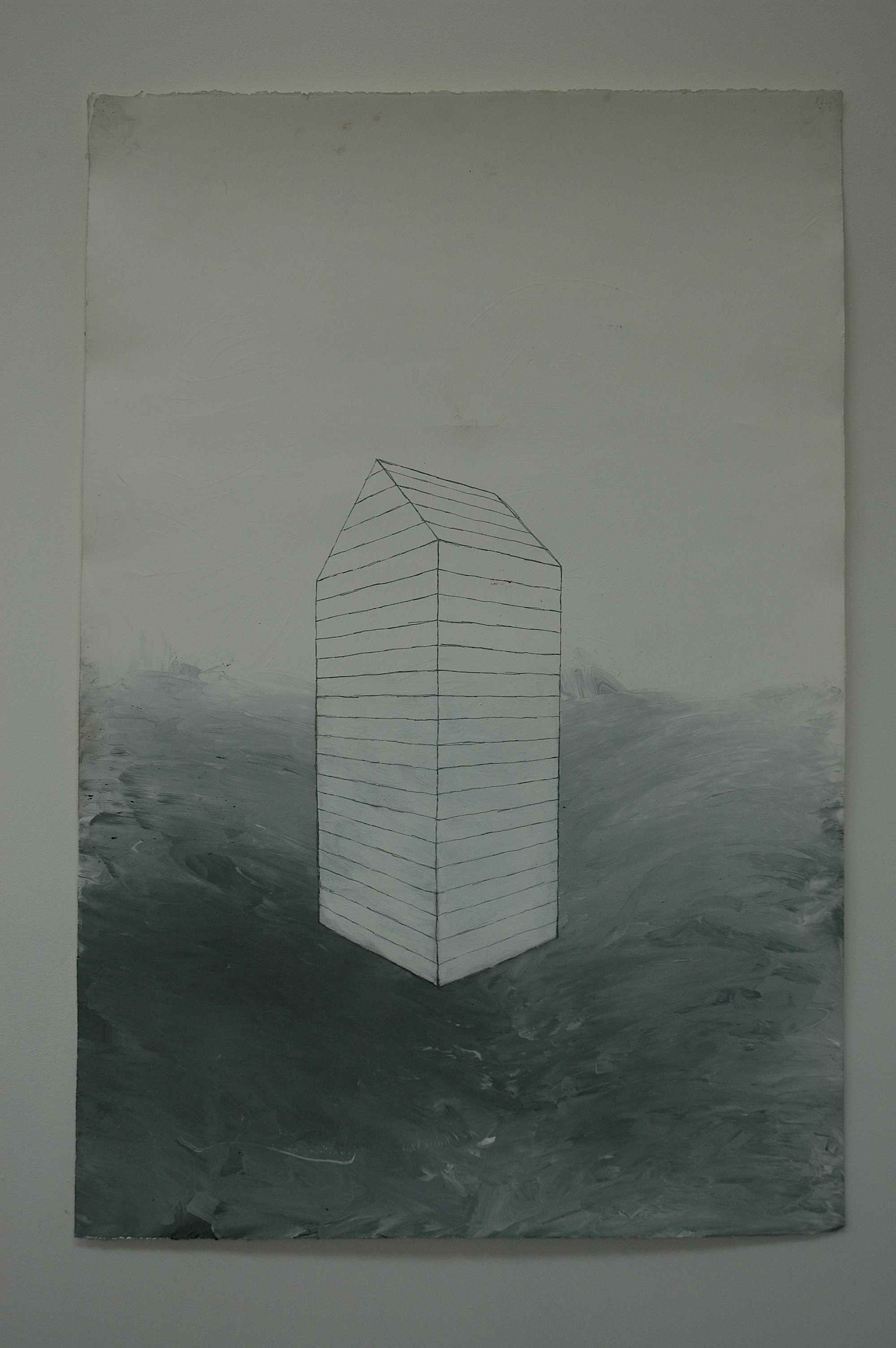 Drawing #1. Ink, pencil, charcoal & acrylic on Creysse paper. 80 × 120cm.
