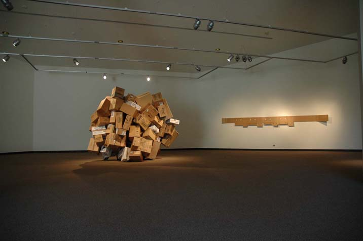 Installation of cardboard pieces by Stephen Williams at Gallery ON in Poland